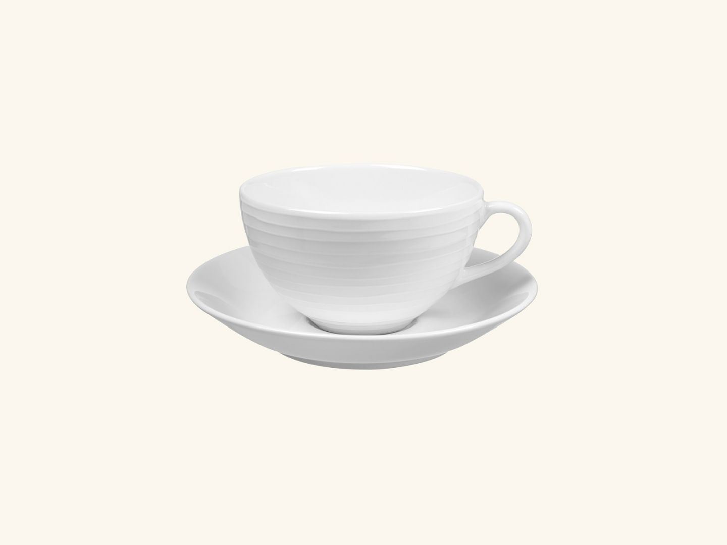 Blond cup & saucer White stripe-White
