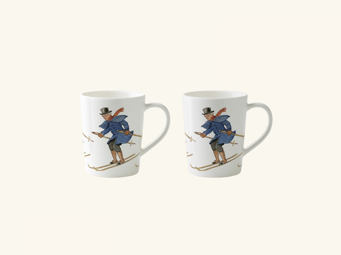 Mulled wine mugs, Uncle Blue is skiing